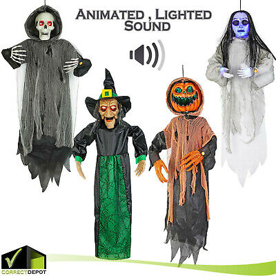 """48"""" ANIMATED Halloween Hanging Prop LED Eyes Lights Moving Mouth Outdoor Decor"""