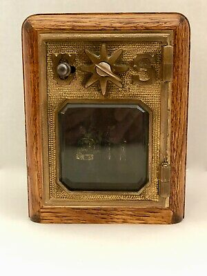 Vintage US Post Office PO Box Wood Brass Door Coin Bank w/Combination