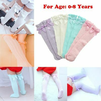 Girls Infant Knee High Stockings Baby Lace Socks Bowknot Pantyhose Kids Tights