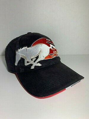 Ford Mustang Embroidered Hat Ford Motor Company Strap-Back Cap Black Flames Pony