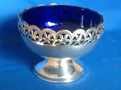 Vintage Or Antique Silver Plate On Brass Serving Bowl With Blue Glass Liner