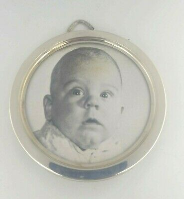 Antique Vintage Sterling Silver Lullaby Round Picture Frame Xmas Ornament #N300