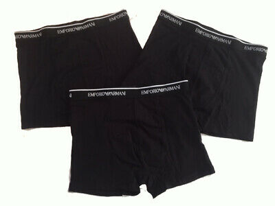 Emporio Armani Boxers Mens Underwear 3 Pack Trunks Black New UK Authentic