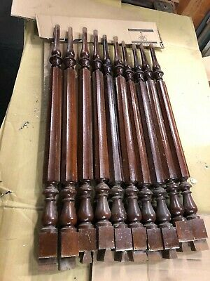 "Lot of 10 c1860 FANCY black walnut staircase baluster spindles 31"" x 1 7/8"" sq"