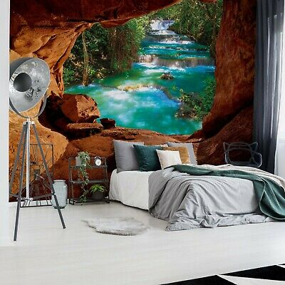 Waterfall Cave Photo Wallpaper Wall Mural Fleece Easy-Install Paper