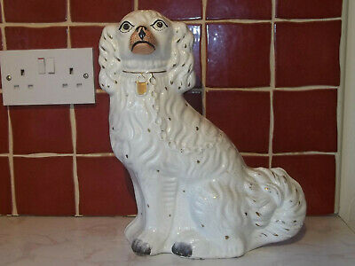"A Large Antique 19th Staffordshire Spaniel or Wally Dog [ 13"" Tall ]"
