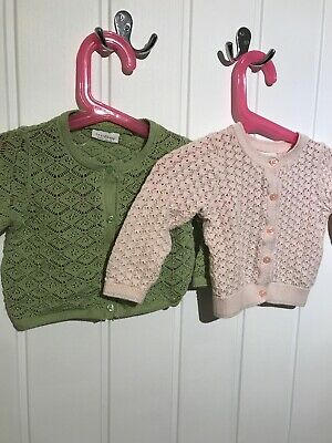 2 X NEXT Baby Girls Cardigan Age 6-9 Months Green and Pink Pontelle VGC Knitwear
