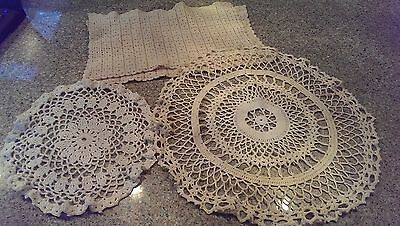 VTG ANTIQUE LOT of 4 Crocheted table linens or doilies CREAM colored