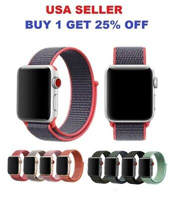 Woven Nylon Band For Apple Watch Sport Loop iWatch Series 5/4/3/2 38/40/42/44mm