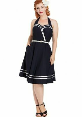 Voodoo Vixen Mid Century Deco Nautical Navy Blue Summer Swing Charlotte Dress XL