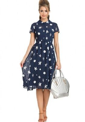 Voodoo Vixen Mid Century Nautical Summer Naomi Under the Sea Sheer Dress XL