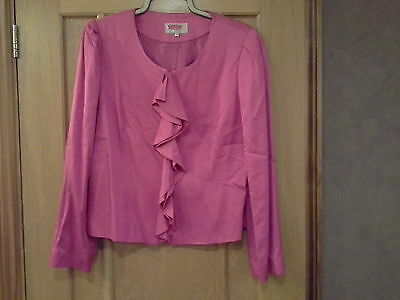 pink jacket with frill to front size 14