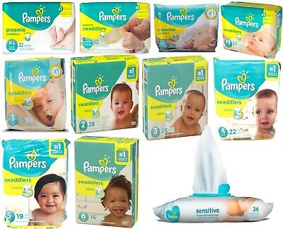 Pampers Swaddlers Disposable Diapers All Sizes W/ 36 Pack Sensitive Baby Wipes