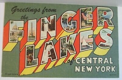 Postcard NY Large Letter Greetings From the Finger Lakes Central New York