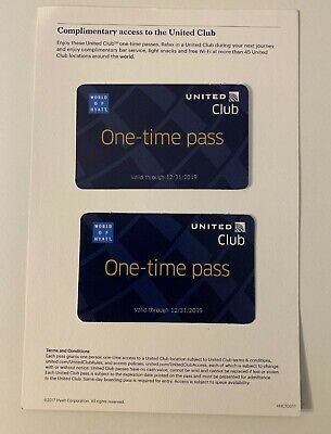 2 Passes for United Club One Time Pass EXP 12/31/2019