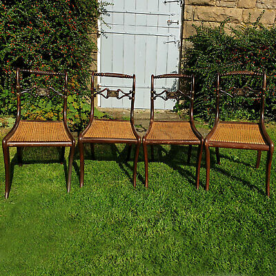 Regency Rope Back Brass & Walnut Cane Seat Set of 4 Dining Chairs C1820
