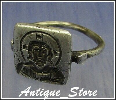 ** Jesus of Nazareth ** Ancient Silver Byzantine Ring **AMAZING **
