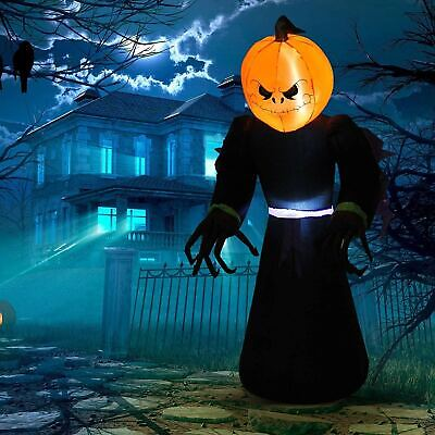 Halloween 7ft Tall Inflatable Pumpkin Reaper Ghost Light Up Yard Decoration