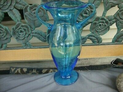 Murano Italy Large Blue Vase Art Glass Hand Blown Vintage Antique
