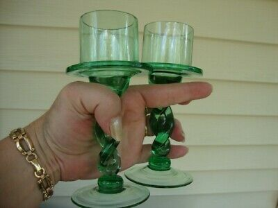 Murano Italy Candle Sconce Candelabra Green Hand Blown Art Glass Vtg Antique