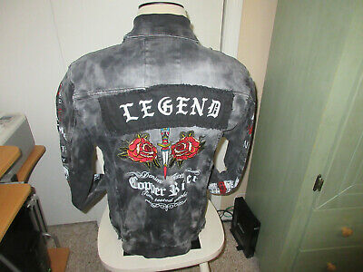 Denim  Jacket Copper Rivet distressed Look men's size Large, new without tags