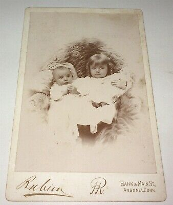Rare Antique Victorian American Siblings! Baby & Child! Toy Doll Cabinet Photo!