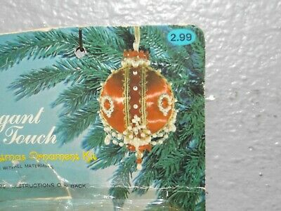 Vintage Elegant Touch RUBY RED & PEARL CHAIN Bead Sequin Christmas Ornament Kit
