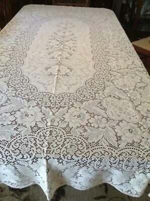 Vintage Quaker Lace Ivory Tablecloth Floral Design Scalloped Loop Edging 67x98