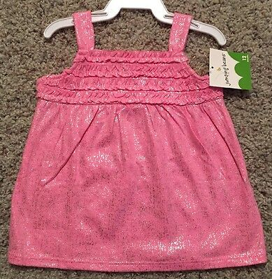 NEW Girls Tank Top Size 12 Months Pink Sparkly Sleeveless Summer Shirt Baby Gift