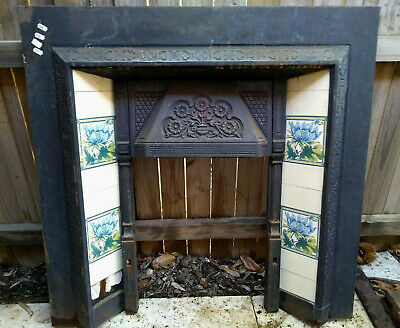 Edwardian Victorian Antique Cast Iron Fireplace Surround Mantel Reproduction