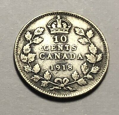 Canada 1918 Ten Cents Silver Coin - King George V