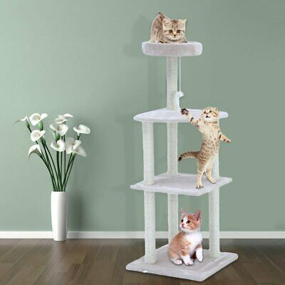 "Cat Tree Furniture Kitten House Play Tower Scratcher 51"" Beige Condo Post Bed WF"