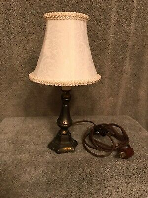 "Vintage 50's Small Brass Lamp With Shade. ""WORKS"""