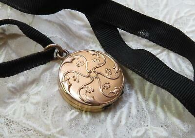 Beautiful Antique Victorian Gold Locket on Black Ribbon - Signed JMF & Co