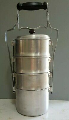 Vintage 4 Tier Aluminium Food Caddy/Carrier C1950s - Kitchenalia-Camping ###