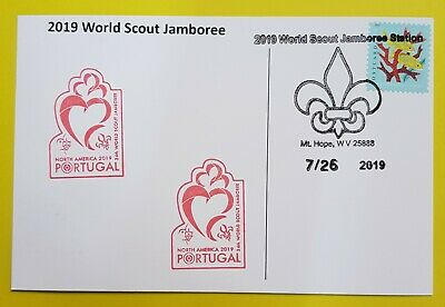 24th world scout jamboree 2019  Postmark on USPS official postcard and PORTUGAL