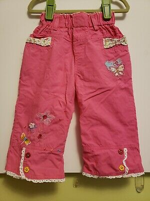 Toddler Girls NEXT Pink Cotton Cropped Pants Capri w Embroidery Pockets Size 3T