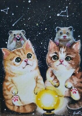 CAT ORIGINAL ACEO Painting Art Night Space Stars Family Gift Card Love HBD