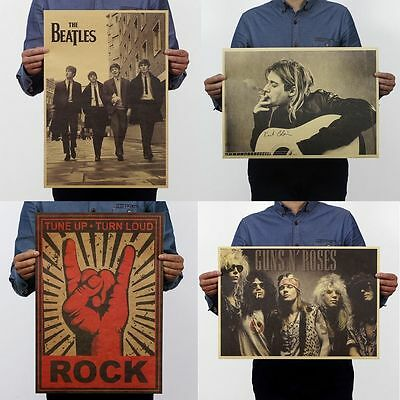 Music Rock Band Stars Retro Kraft Paper Poster Bar Pub Wall Decor Fans Favorite
