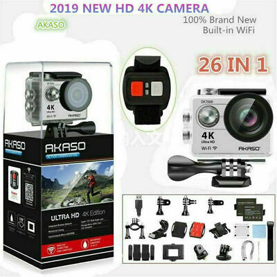 2019 Akaso EK7000 HD 4K WiFi Sports DV Action Camera Camcorder Silver w/ 32GB SD