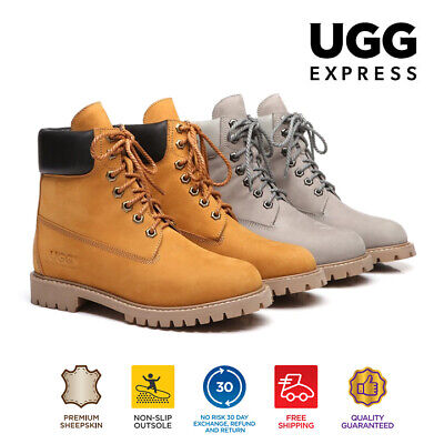 AS UGG Unisex Leather Boots Men's Noah Chunky lace-up & Sheepskin Lining&Insole