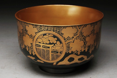 Japanese Old Gold Lacquer Makie Bowl / MEIJI or EDO / W 14.2× H 9[cm]