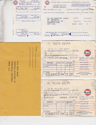 1975  Gulf Oiil  Travel Credit Card / Statement + Charge Slips / Lot Of 10