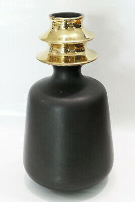 Vase noir et or 1969-70 Carstens Germany design Gerda Heukeroth model Peking