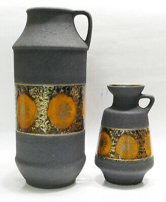 2 vases 1960-70 assortis noir et or Dumler & Breiden W.Germany fat lava