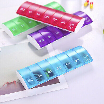 7 Days Weekly Pill Organizer Tablet Pill Box Plastic Medicine Box Splitters W