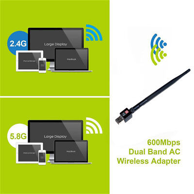 2.4/5Ghz 600Mbps dual band wireless usb wifi network lan adapter antenna — TW