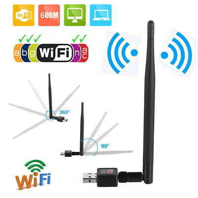 600M USB 2.0 Wifi Router Wireless Adapters Network LAN Cards with 5 dBI AntenW