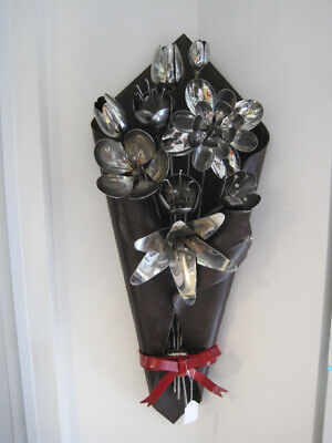 Exquisite Wall Sculpture - Bunch of Flowers in stainless steel 91cm high