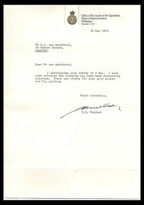 New Zealand 1975 & 1980 Two Letters Signed R. D. Muldoon (F)